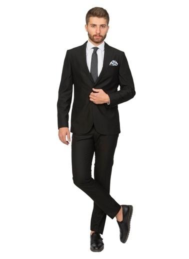White Stone Avlonya Slim Fit Yelekli Takım Elbise 6 Drop Siyah Siyah